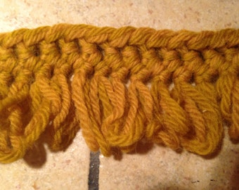 2 Yards of Harvest Gold Broomstick Lace Fringe