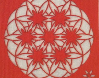 """Flower of life, Art Textile (synthetic fiber). Wall hanging, Mandala pattern """"Flower of life changing"""", 30 x 30 cm, Orange and white."""