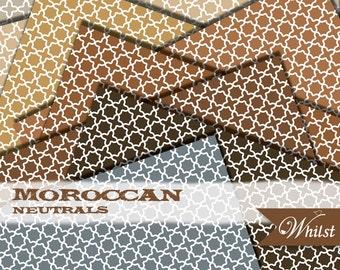 Moroccan digital paper quatrefoil scrapbooking kraft gold brown chocolate gray : b0132A v301 3sneutrrals