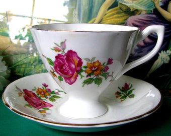 Giftcraft Pink Rose Pedestal Teacup and Saucer Pink and White English Bone China Tea Cup and Saucer, Circa 1960s, Bridal Shower, Tea Party