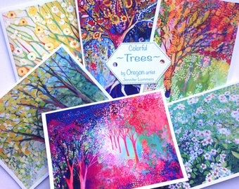 Colorful Trees - set of Blank Note Cards by Jenlo