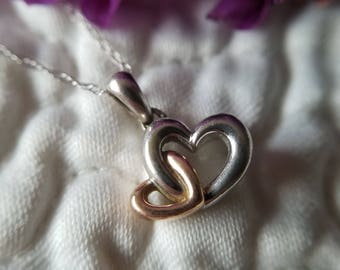 """14K Gold Two Tone Heart Pendant with 18"""" chain (st - 2107)"""