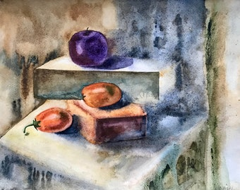 ORIGINAL watercolor still life with plum and persimmon, watercolor painting, wall art, interior wall decor, fine art