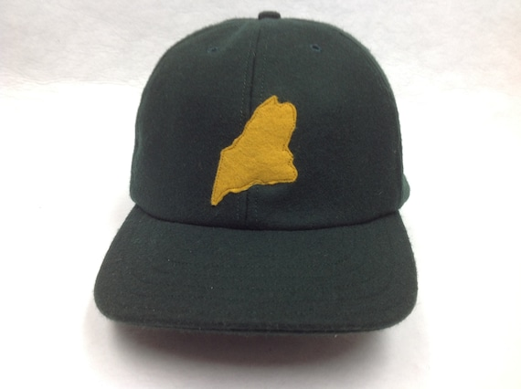 6 panel wool flannel cap with felt state of Maine logo, hand cut and stitched, 2.5 inch visor.  Any size available.