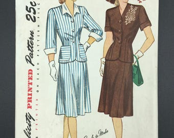 Simplicity 1935 Two-Piece Dress Size 18 1/2 Vintage Sewing Pattern  (SW030ET)