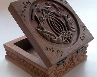 Celtic aves caja de talla en madera, talla en madera hecha a mano, 5,5 x 5,5 x 3, 1 en.