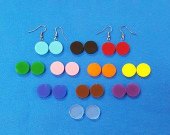 """24 Units (12 Pair) Acrylic EARRINGS blanks ( 5/8"""" or 1"""" Dim) CIRCLE  shape  (select Colors & optional hole) (hardware seperate)"""
