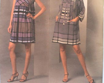 UNCUT Anna Sui Loose Fitting Dress with Cowl Neck Bust 30.5-34 Vogue V1046 American Designer Sewing Pattern