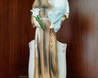 Saint Anthony And Baby Jesus Ceramic Planter
