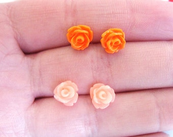 Set of Two Tiny Carved Flower Stud Earrings, Pretty, Cute, Rose, Floral, Post, Summer, Festival