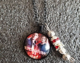 Handmade Jared and Jensen Red Necklace with Charm