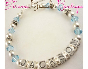 Aquamarine Birthstone or any color Mothers Bracelet- customized name