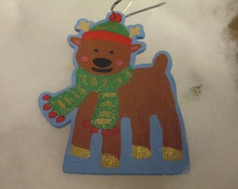 Hand Painted Wooden Reindeer Christmas Ornament Decor