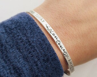 Inspirational Bracelet - Gift for her birthday - BFF Gift - Make today ridiculously amazing - Quote Jewelry - Inspiring Gift - silver cuff
