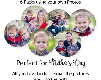 Custom Photo Magnets • Mothers Day Gift • Gift for Grandma • Family Gift Set • Photos for Mom • Custom Magnets • Pinback Buttons