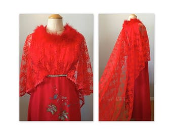 Vintage 70s Red Disco Dress XXS in Chiffon with Lace, Feathers and Rhinestones