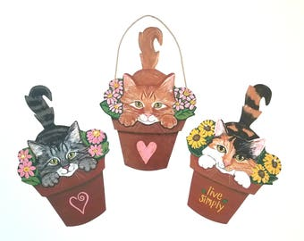 Cat Art - Cat Wall Art - Original Cat Art - Garden Art - Cat Sign - Cat Folk Art - choose Tabby Cat, Orange Cat or Calico Cat
