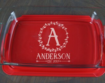 Personalized Casserole Dish Pyrex Baking Dish Engraved Name Christmas Present Mother's Day Wedding Gift Shower Monogram A 38