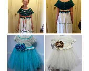 Crochet Tutu Dress Pattern - 5/6  7/8 10/12 14/16 - Crochet Dress Pattern  - Little Girls Dress Pattern
