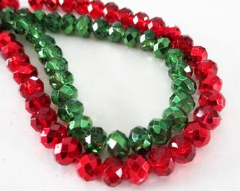 "Crystal Rondelle Faceted Beads - Red Green Metallic Sparkly Beads - Small Drilled Beads - 8mm - 13"" Strand - DIY  Jewelry Making"