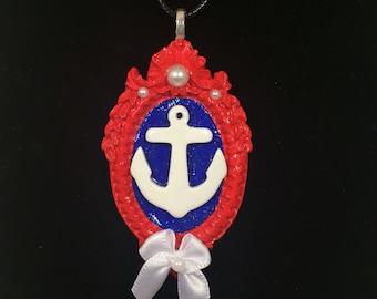 Nautical Anchor Cameo Frame Necklace