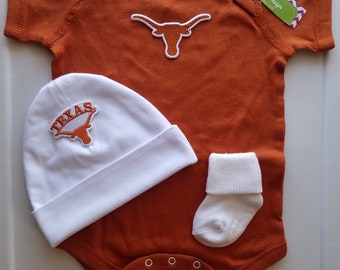 Texas Longhorns baby outfit-longhorns baby-texas longhorns baby-newborn texas longhorns-texas longhorns baby shower gift/ut baby