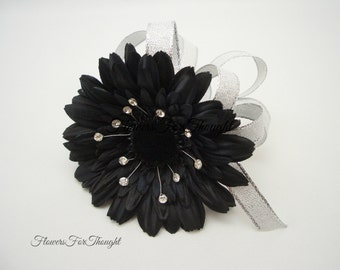 Black Gerber Daisy Corsage with Rhinestones, Wedding, Prom, or Homecoming Gift