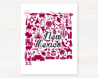 Las Cruces, New Mexico Landmark State Giclée Print - 8x10 - Graduation Gift Idea - Dorm Decor