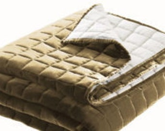 QUILT   handmade box patterned made with fine quality velvet  mocha / sand / light brown color   twin king queen sizes  