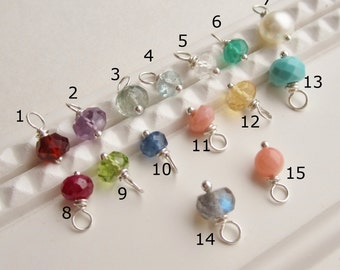 Tiny gemstone charm, custom birthstone charm, solid sterling silver, 14K gold-filled or Rose gold-filled, wire wrapped genuine birthstones