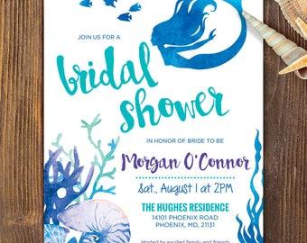 Mermaid bridal shower invite mermaid shower purple glitter filmwisefo