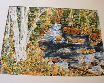 Jane Whipple . Signed Original Watercolor  Painting Impressionistic Landscape . matted 20 x 24