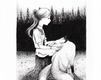 Black and White Illustration of Girl and Three Tailed Fox
