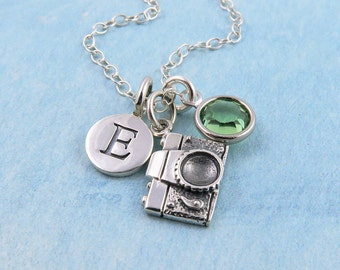 Personalized Camera Necklace, Silver Camera Charm Necklace, Photography Necklace, Photographer Gift, Photography Jewelry