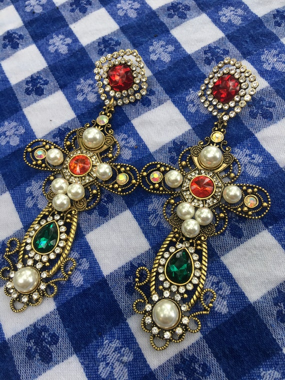 Insanely Gorgeous Huge Runway Shoulder Duster Regal Royalty Blingy Gem & Faux Pearl Gothic Cross Earrings