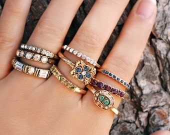 Stacking Rings Set, Stackable Rings, Crystal Rings, Stack Rings, Boho Rings, Gold Stacking Rings, Inspirational Jewelry