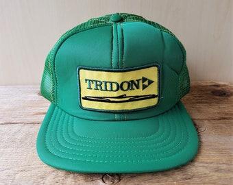 Vintage 80s TRIDON Trucker Hat Green Mesh Snapback Baseball Cap Victory Made in Canada Clamp Products Company Promo Ballcap Retro