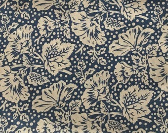 By The HALF YARD - Sara's Stash by Sara Morgan for Blue Hill Fabrics, Pattern #7416-7 Flowers and Dots in Cream on Blue