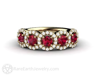 Ruby Ring Wedding Band with Diamonds Ruby Engagement Ring July Birthstone 14K Gold 18K or Platinum