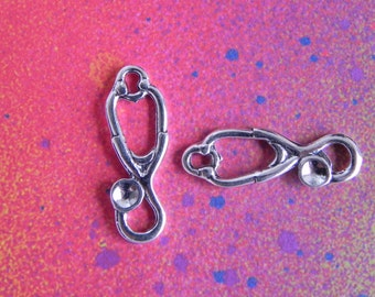 25 Stethoscope Doctor Nurse Charm Tibetan Silver Charms for Jewelry Making Crafts
