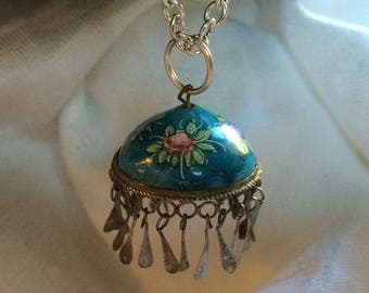Enamel Globe-Shaped Pendant with Fringe on Sterling Chain