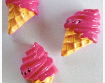 Raspberry ice-cream cone - 1 face charm