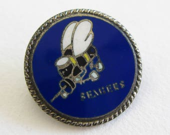 Vintage 40s WWII US Navy Seabees Sterling Silver Sweetheart Homefront Brooch Pin