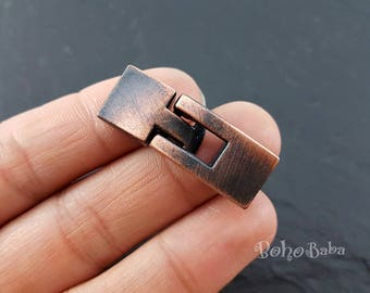 2 Sets, Brushed Copper Toggle Clasp, Licorice Findings, Toggle Bracelet Clasp, Licorice Clasp, Leather Bracelet, Men Bracelet, Leather Clasp