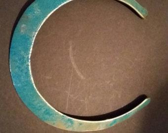 Vintage Turquoise Enamel Necklace Handmade Brass Choker Boho Jewelry