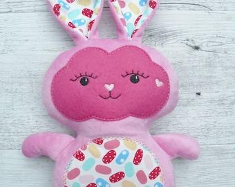 "Handmade rabbit, 34cm (14""), fabric rabbit, plush rabbit, gifts for girls."