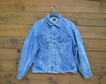 1980's Lee Denim Jacket Size Medium Stone Acid Wash Classic Jean Jacket
