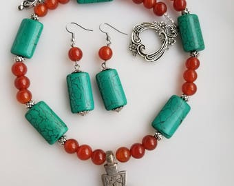 Ethiopian Coptic Cross necklace, Turquoise necklace, Carnelian beads, Ethiopian jewelry, Ethiopian necklace
