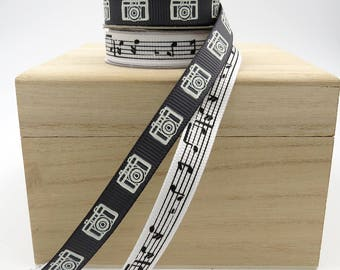 Camera Ribbon. Music Ribbon. Black Ribbon. White Ribbon. Black and White Ribbon. Gift Wrap. Gift Basket Ribbon. Favor Bag Ribbon