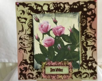 Hand Painted Roses Greetings Card. All Occasions.